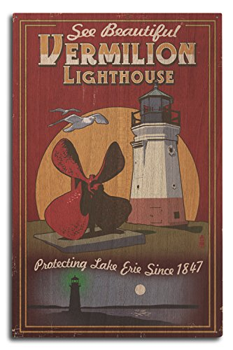 Ohio - Vermilion Lighthouse - Vintage Sign (10x15 Wood Wall Sign, Wall Decor Ready to Hang) (Wood Lighthouse Vermilion)