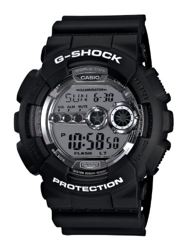 Casio Men's GD100BW-1 G-Shock Magnetic Resistant Black Resin Digital Watch, Watch Central