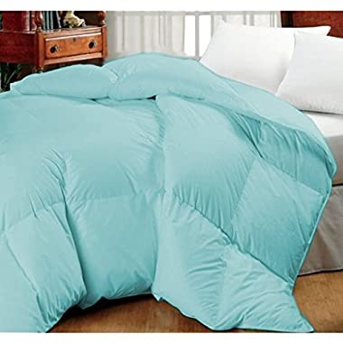 Oversized Goose Down Alternative Comforter - Fits Pillow Top Beds - Allergy Free! (King 110 x 96 , Light Blue)