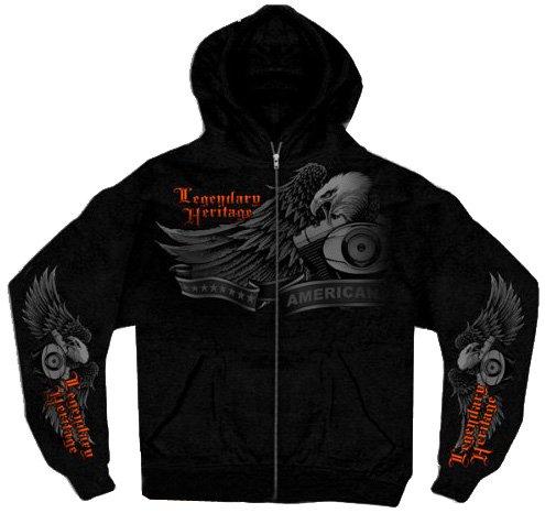 Hot Leathers Ghost Eagle Zip Hoodie (Black, Large)