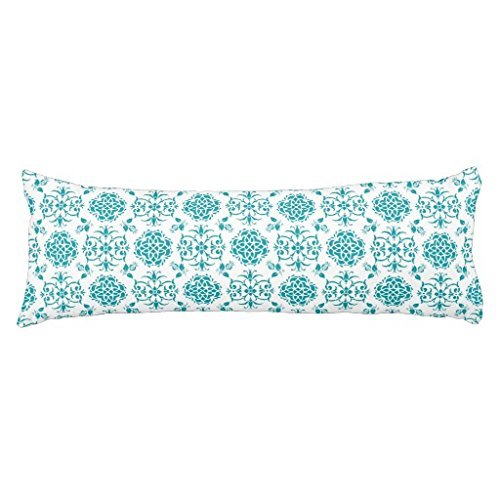 UTF4C Aqua and White Floral Damask Pattern Body Pillow Covers 20 x 54 Decorative Body Pillow Cover Case for Bed,Home Decorative