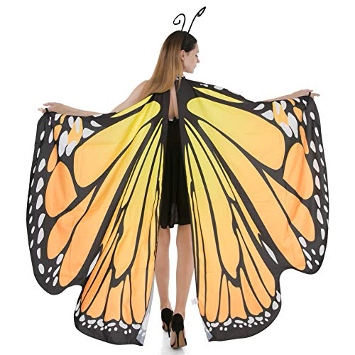 Spooktacular Creations Butterfly Wings Cape Fairy Shawl Costume Accessory with Antenna ()