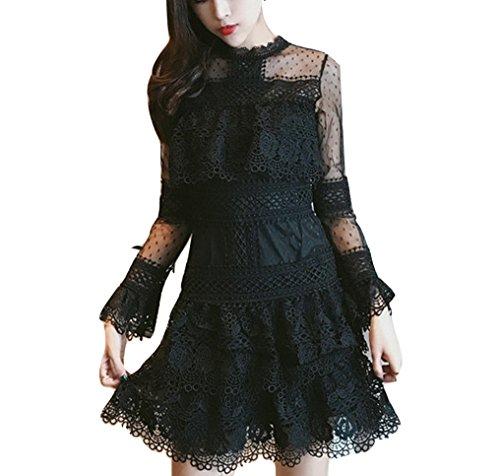 Celebritystyle black Guipure & mesh peplum mini dress SEE MEASUREMENTS (S, black (Peplum Mini)