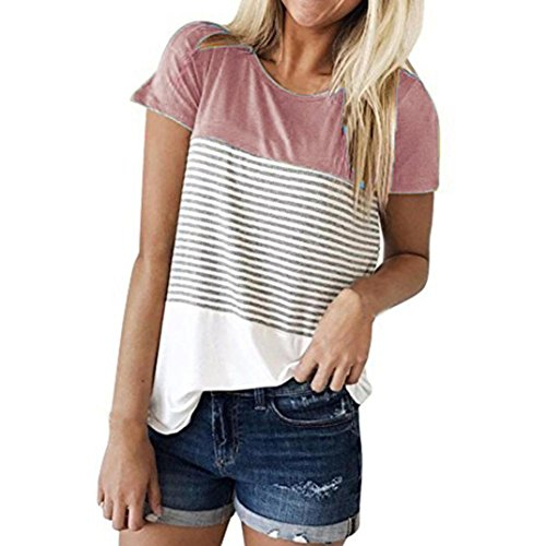 FEITONG Women Short Sleeve Round Neck Triple Color Block Stripe T-Shirt Casual ()