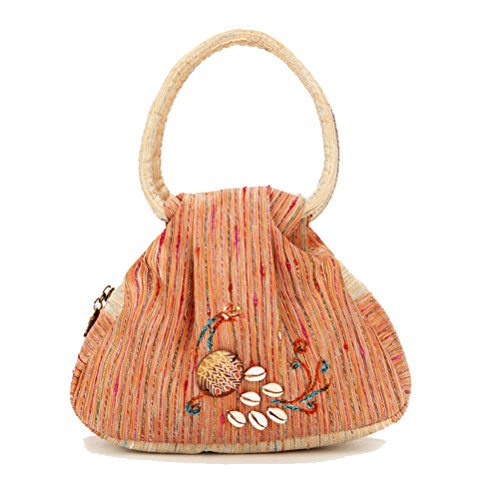 Nasis Damen Yunnan nationalen retro Stil canvas Handtasche 20x16x7cm AL4197 (orange)