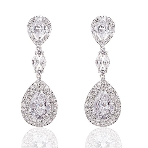 Marquise One Ring Love (Wordless Love Genuine Rhodium Plated Cubic Zirconia Teardrop Bride Wedding Dangle Pierced Earrings Clear)