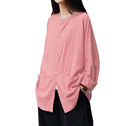 c3adbe379 Joopee Women Retro Long Sleeve Solid Casual Loose Button Shirt Cover up  Blouse (M,