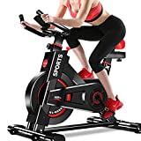 Dripex Upright Exercise Bikes (Indoor Studio Cycles) – Studio Quality with Heart Rate Monitor, Large Bidirectional Flywheel, Belt Drive, Infinite Resistance, LCD Displays, Hand Pulse