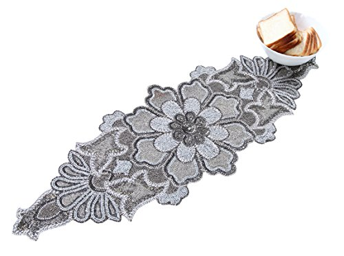 Linen Clubs Hand Made Beaded Table Runner 13x36 Inch Floral Design Silver Combo Colors,Produced by Skilled Village Artisans in India - A Beautiful Complements to Dinner Table Decor Offered