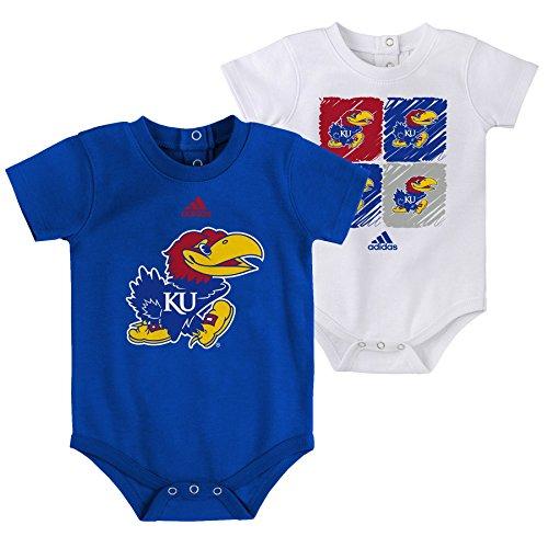 Outerstuff NCAA Kansas Jayhawks Children Boys Double Up 2Piece Onesie Set, 18 Months, Collegiate Royal (Onesie Collegiate Cotton)