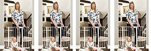 "Regalo Easy Step Walk Thru Gate, White, Fits Spaces between 29"" to 39"" Wide (4-(Pack))"