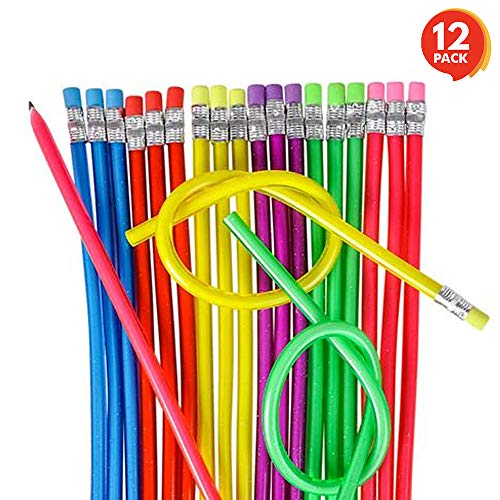 ArtCreativity 13 Inch Flexible Bendy Pencils for Kids (12 Pack) | Fun & Functional Long Bendable Writing Pencil Set | Birthday Party Favor/Goodie Bag Fillers/Classroom Gifts/Back to School Supplies ()
