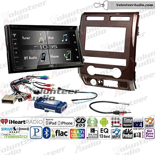 Volunteer Audio Jvc Kw V340bt Double Din Radio Install Kit With Bluetooth Sirius Xm Ready 6 2 Touchscreen Fits 2009 2010 Ford F 150 Milano Maple Woodgrain