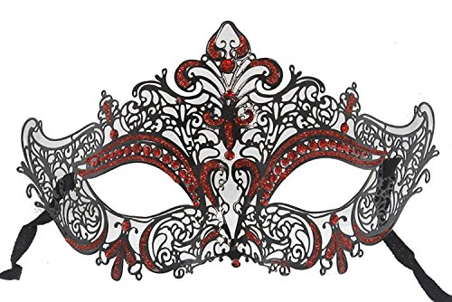 Firestorm Halloween Costume (Hagora, Women's Firestorm Black And Red Tone Laser Cut Metal Venetian Mask)