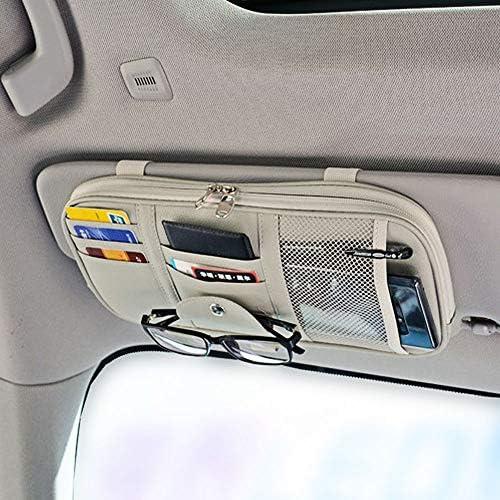 Kuuleyn Visiera Card Storage Auto Car Sun Visor Organizer Pouch Bag Card Storage Porta occhiali Clip Beige