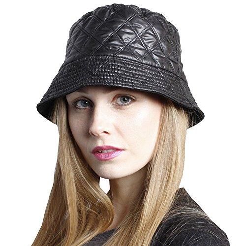 Accessoryo - unisexe effet de couette réversible noire seau chapeau