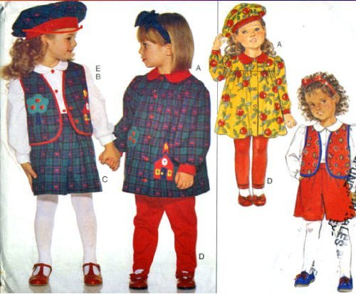 Butterick Sewing Pattern 3648 Toddler Dress, Vest, Blouse, Shorts, Leggings & Beret, Size 2 3 4