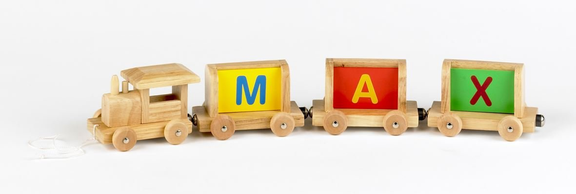 Includes A Free Magnetic Carriage With Each Letter Letter A Vinsani Personalised Name Wooden Alphabet Train Letters