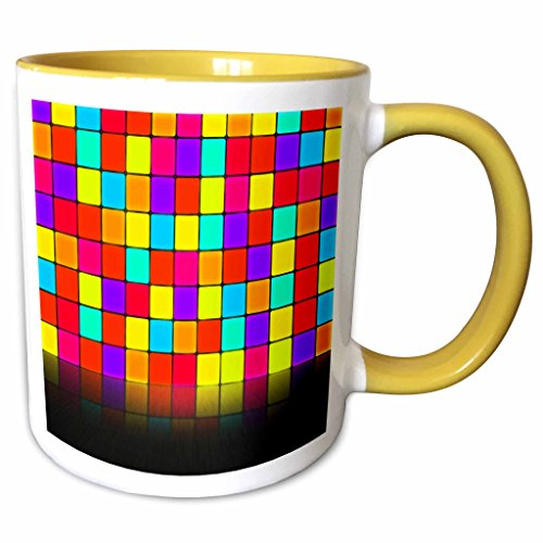 3dRose Anne Marie Baugh - Room Effects - Colorful Squares Wall With Mirrored Effect Floor - 15oz Two-Tone Yellow Mug (mug_213813_13)