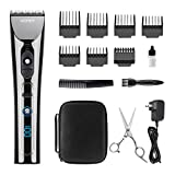 [Upgraded] WONER #HC827B 14-Piece Hair Cutting Kits, Cordless Hair Clippers Hair Trimmers with 7 Guards, Scissors, Hard Bag