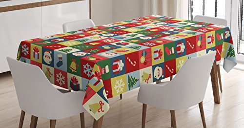 (Ambesonne Christmas Tablecloth, Xmas Theme Santa Claus Surprise Boxes Cones Jingle Bells Tree Ornaments in Boxes, Dining Room Kitchen Rectangular Table Cover, 60 W X 84 L inches,)