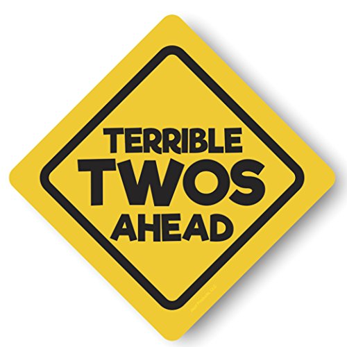 "Terrible Twos Ahead and Happy Birthday Signs, shiny 12"" Construction Party Signs, Large Sized Two Pack Party Decorations by Jayd Products"