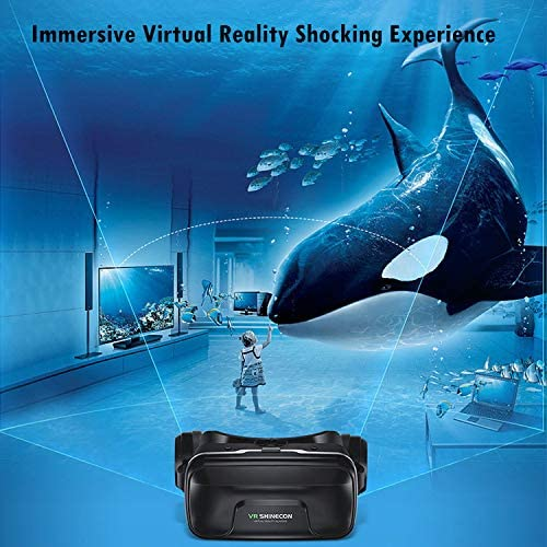 Immersive 3D VR Glasses Box Virtual Reality Headset Pro Version with Earphone Compatible for iPhone 11 Pro Samsung LG Moto HTC etc. 4.0-6.0inch Cellphone with Gift Wireless Remote Controller, Black 51 M 2BH4u6zL