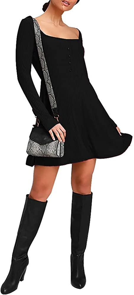 Jusfitsu Womens Sweater Dress Long Sleeve Fall Casual Swing Dress A-Line Square Neck Ribbed Fit Slim Knit Short Dress