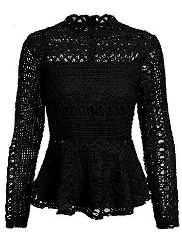 SUNJIN ARCO Women's Elegant Lace Tops Hollow Out Long Sleeve Peplum Hem Shirt Blouse (Black,L/4-6)