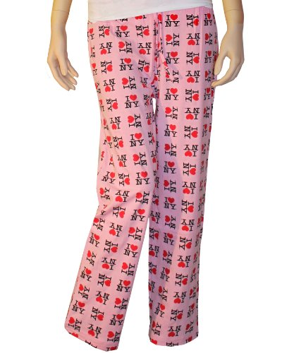 I Love NY New York Lounge Pants Heart Pajama Bottoms Pink -