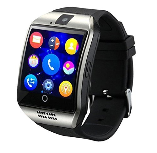 h KKCITE Smartwatch Phone With SIM 2G GSM for Android Smartphones Support Sleep Monitor, Push Message, Camera Unlocked Watch Men Women Kids (silver-black) ()