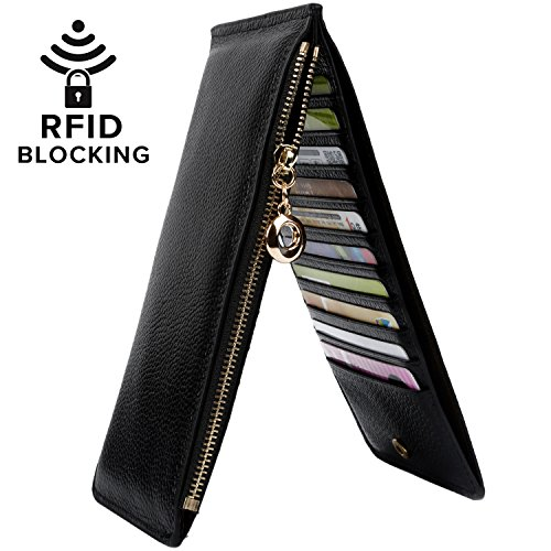 YALUXE Women's RFID Blocking Genuine Leather Multi Card Organizer Wallet with Zipper Pocket RFID Blocking Black