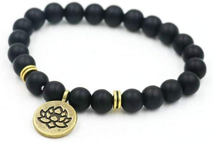 Hollywood Sensation Yoga Bracelet Lotus Flower Charm Bracelet with Natural Agate Stone- Mala Beads.