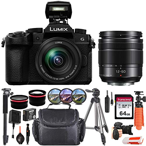 Panasonic Lumix DC-G95 Mirrorless Digital Camera with 12-60mm Lens + Essential Starter Accessory Bundle incl. Wide-Angle & Telephoto Conversion Lens, Gadget Bag & More
