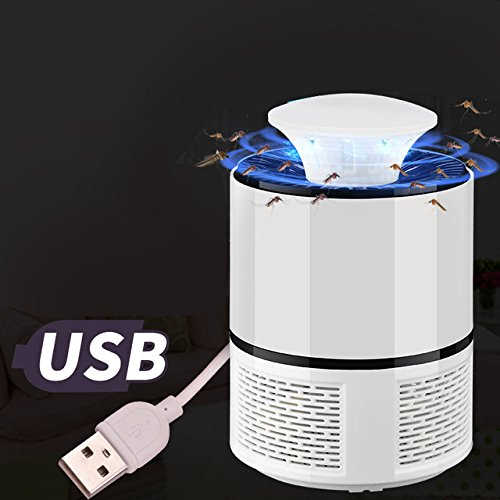 USB LED Mosquito Killer Lamp Mosquito Light Trap UV Light Killing Catcher Zapper LightInsect Killer for Home Garden Outdoor   White