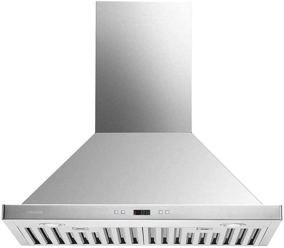 CAVALIERE 30'' Range Hood Wall Mounted Brushed Stainless Steel Kitchen Vent 900CFM