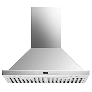 """CAVALIERE 30"""" Range Hood Wall Mounted Brushed Stainless Steel Kitchen Vent 900CFM"""