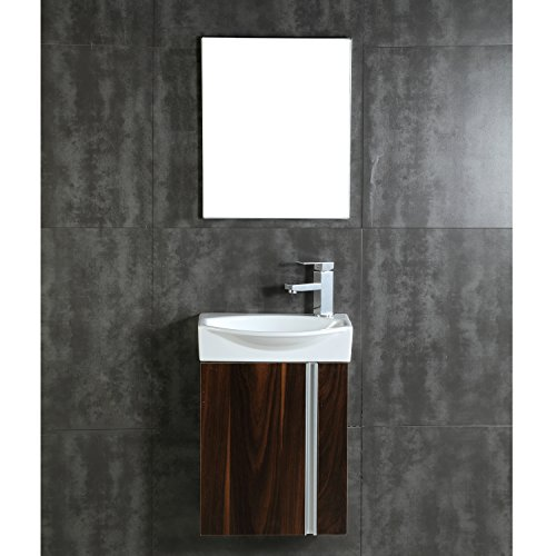 Cheap  Fine Fixtures Compacto Small Bathroom Vanity Set With Sink -Wall Hung Cabinet-..