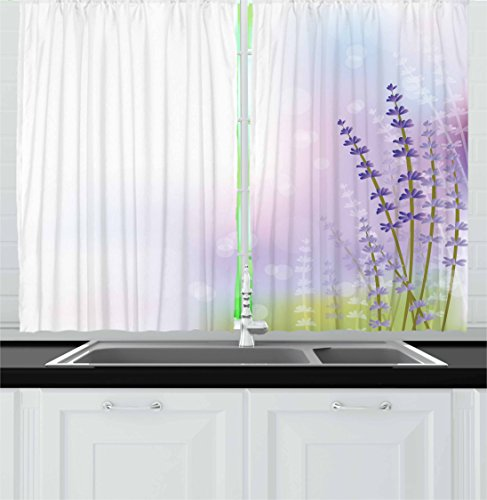 Lavender Kitchen Curtains by Ambesonne, Nature Inspired Abstract Backdrop with Gentle Pastel Lavender Stems, Window Drapes 2 Panel Set for Kitchen Cafe, 55 W X 39 L Inches, Violet Olive Green Lilac (Olive Violet Green)