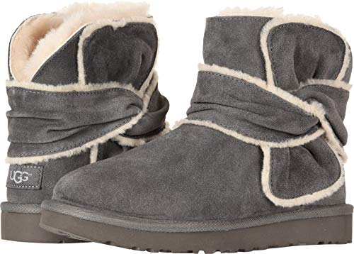 UGG Womens Mini Spill Seam Bow Boot, Charcoal, Size 8
