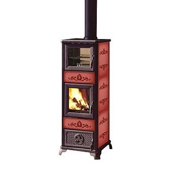 Estufa de leña 7,2 Kw c/horno acero fundido 190m3 diseño GLORIA2 calefacción: Amazon.es: Bricolaje y herramientas