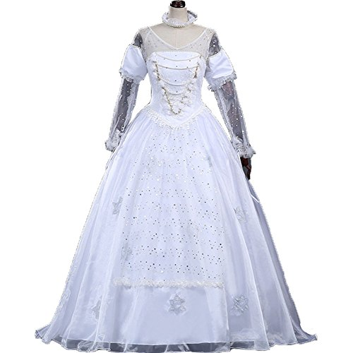 Adult Anime Princess Fancy White Slim Long Dress Costume Halloween Party Cosplay Costume Custom Made (S) ()