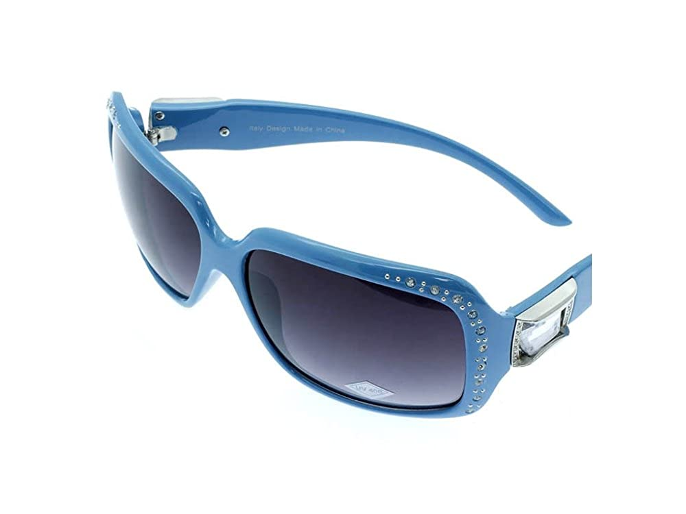 Turquoise Crystal Stone Studded Wide Lense Sunglasses