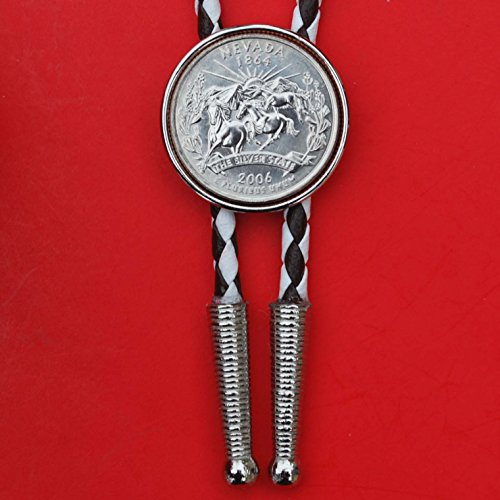 """US 2006 Nevada State Quarter BU Uncirculated Coin Simple Slide 36"""" Cord Bolo Tie NEW"""