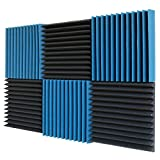 6 Pack- Ice Blue/Charcoal Acoustic Panels Studio Foam Wedges 2'' X 12'' X 12''