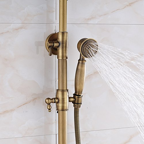 Rozin Bathroom 2 Knobs Mixer Rainfall Shower Faucet Units with Hand Spray Antique Brass by Rozin (Image #7)