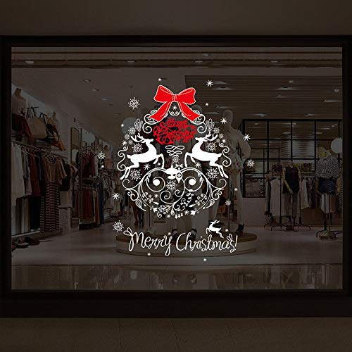 - Christmas Window Glass Wall Sticker Wallpaper Art Decals Fawn New Year Company Hotel Reindeer/Milu Deer Elk Moose