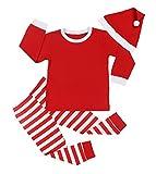 Von kilizo Boys Christmas Pajamas Little Kids Pjs Sets 100% Cotton Sleepwears Toddler Clothes + Christmas Hat(2-3 Years)