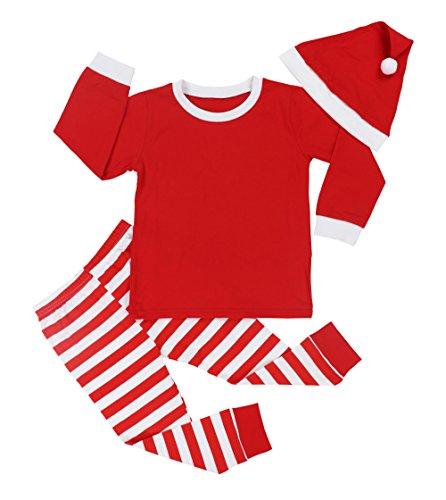 (Von kilizo Boys Christmas Pajamas Little Kids Pjs Sets 100% Cotton Sleepwears Toddler Clothes + Christmas Hat(5-6)
