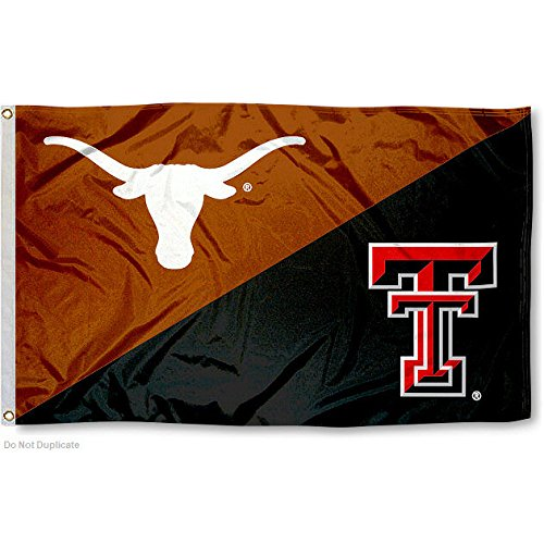 College Flags and Banners Co. TTU vs. UT House Divided 3x5 Flag